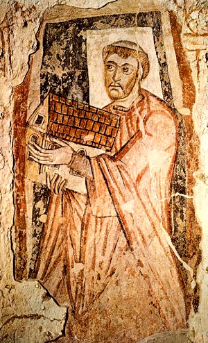 St. Benet (Benedict) Biscop carrying St. Peter's Basilica to Britain.